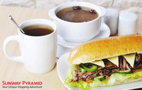 "6"" Beef Sandwich + Herbal Chicken Soup - Ginseng + Fortune Delight Beverage"