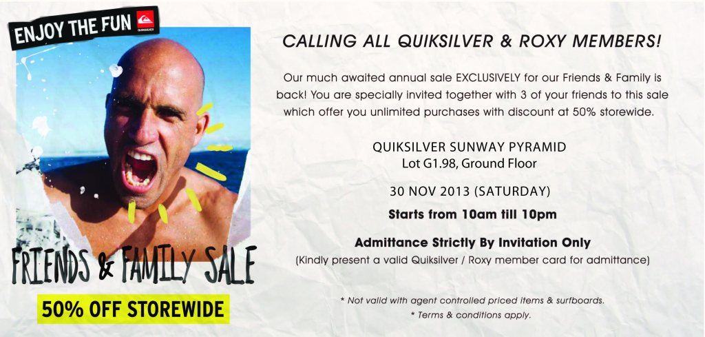Roxy & Quiksilver Friends & Family SALE